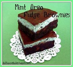 St. Patrick's Day Mint Oreo Fudge Brownies {Small Batch} by Banphrionsa