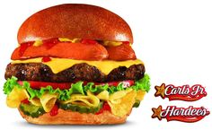 Hardee's thickburger with a hot dog and potato chips on it