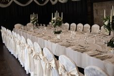 The long dining table set for the wedding dinner at Kinnitty Castle. A real wedding by Couple Photography Wedding Dinner, Wedding Ceremony, Wedding Day, Banquet Tables, Wedding Table Decorations, Magical Wedding, Sunset Photos, Big Houses