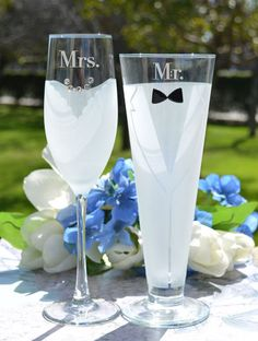 Bride and Groom Glasses Set of TWO Personalized by LetsTieTheKnot