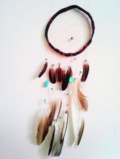 Dreamcatcher made from feathers I found, colourful beads and string. Never a bad dream!