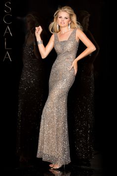 #SCALA Spring 2016 style 48568 Lead/Silver! #scalausa #spring2016 #prom2016 #gown #sequins #dress #promdress #prom2k16 www.scalausa.com