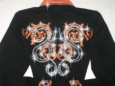 bling western showmanship shirts | Just Fly Designs > AWSOME ORANGE! EMBROIDERED SCROLLS!