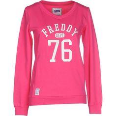Freddy Sweatshirt ($30) ❤ liked on Polyvore featuring tops, hoodies, sweatshirts, fuchsia, v neck sweatshirt, cotton sweatshirt, fuschia pink tops, pink long sleeve top and long sleeve sweatshirt