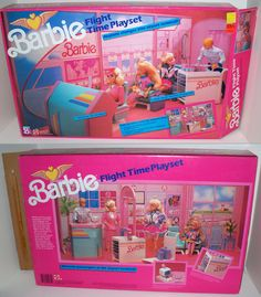 Barbie Flight Time Playset by Mattel, 1989 - This set has an airplane scene on one side and airport terminal on the reverse.