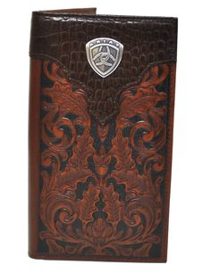 Ariat Mens Rawhide Wrap Overlay w//Concho Trifold Wallet