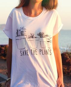 Succulent Flowers Plants // Save the Plants // Bohemian Floral Dessert Cactus Minimalist // Rolled Sleeves Ladies Screenprint Tee Shirt