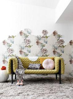 lovely sofa. wallpaper, vintage, pillows.