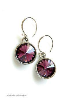 Amethyst Crystall Earrings Purple Dangle Earrings by MsBsDesigns, $30.00