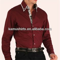 Luxury mens italian shirts contrast collar cuff double collar dress shirts