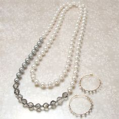 Pearl accent necklace & earring from Zipper