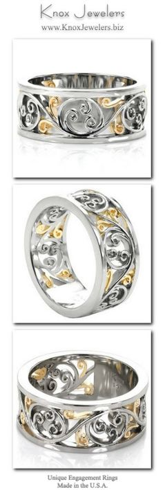 This unique wedding band design is a lustrous two-tone design shown in 14k white gold and 18k yellow gold. The graceful flow of the filigree pattern creates movement around the ring. The rich, warm hues of the yellow gold stand out beautifully from the cool luster of the white gold as light reflects off of the high polished surfaces.  For more information about this custom ring, click on pin.