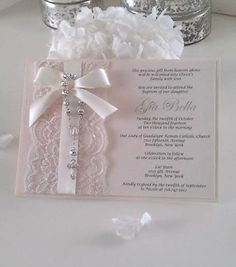 Vintage Lace Rosary Baptism/Christening or Communion Invitation Blush Pink Baby Girl Baptism, Girl Christening, Communion Invitations, Wedding Invitations, Baptism Invitations Girl, Ideas Bautizo, Baptism Cards, Rosalie, Baby Dedication