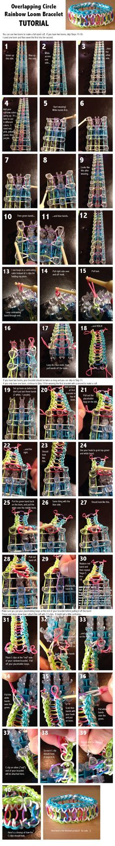 Here is the tutorial for making the rainbow patterned Overlapping Circle Rainbow Loom Bracelet. Please let me know if you have any isues or problems with this tutorial!