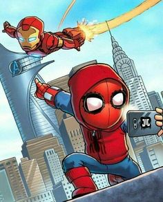 Marvel Drawing Chibi Iron Man and Spidey Marvel Avengers, Chibi Marvel, Avengers Cartoon, Marvel Cartoons, Marvel Art, Marvel Memes, Marvel Dc Comics, Chibi Spiderman, Iron Man Spiderman