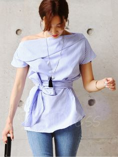 Lace-Up Slash Neck Short Sleeve Women's Blouse Category:Women > Women's Clothing > Women Tops > Blouses Gross kg ) Model:Slim Material:Polyester Length:Mid-Length Sleeve Length:Short Sleeve Closure:Pullover Pattern:Stripe,Plain Season:Summer Casual Wear, Casual Outfits, Cute Outfits, Blazer Outfits, Casual Dresses, Look Fashion, Fashion Outfits, Womens Fashion, Fashion Rings