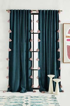 Mindra Curtain by Anthropologie in Blue, Curtains Playful tassels trim these colorful curtains for a charming finish. Teal Curtains, Living Room Decor Curtains, Striped Curtains, Colorful Curtains, Panel Curtains, Blue Velvet Curtains, Blue Curtains For Bedroom, Baby Room Curtains, Decorative Curtains