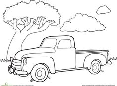 Remember that old truck in Grandpa's backyard? Delight your little car lover with this classic truck coloring page. Fill the bed with big crates, dirt, or even flowers! Chevy Classic, Classic Trucks, Classic Cars, Antique Trucks, Vintage Trucks, Truck Coloring Pages, Colouring Pages, Coloring Book, Adult Coloring