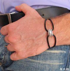 Elegant Black Leather Mens Bracelet - Silver Leather Adjustable Bracelet