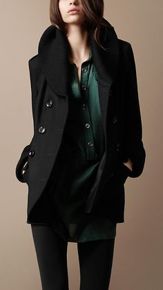 This Burberry coat seems so comfy and stylish for a cold night