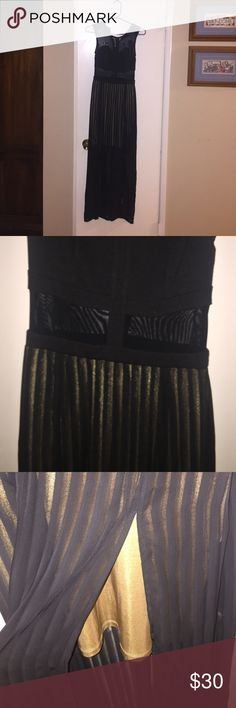 Black double split dress by material girl Black maxi dress, sheer at neckline and waist. Front split on both sides. Lined with gold short skirt. Gold exposed zipper in the black. Brand new with tag. Size S but runs small Material Girl Dresses Maxi