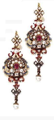 RENAISSANCE-REVIVAL GOLD, SILVER, RUBY, DIAMOND, PEARL AND ENAMEL PENDANT-NECKLACE AND PAIR OF EARRINGS, CIRCA 1870 The matching necklace and earrings set with cushion-shaped rubies, pearls, old mine and rose-cut diamonds, applied with black, white, blue and red enamel.