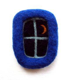 Felt brooch, Dark blue window