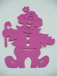 +++CM Fensterbild, filigraner Clown, pink, Tonkarton, NEU+++