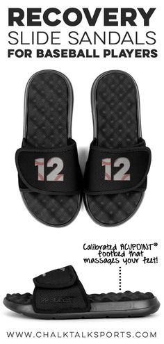10a1671f6f96ad These adjustable black slide sandals with a bold baseball design are the  perfect sandal for any