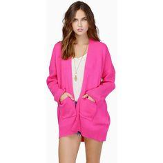 Tobi Carissa Knit Cardigan ($62) ❤ liked on Polyvore featuring tops, cardigans, pink, pocket cardigan, pink knit top, pink top, knit cardigan and pink cardigan