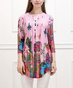 Look what I found on #zulily! Pink Floral Paisley Notch Neck Tunic by Reborn Collection #zulilyfinds