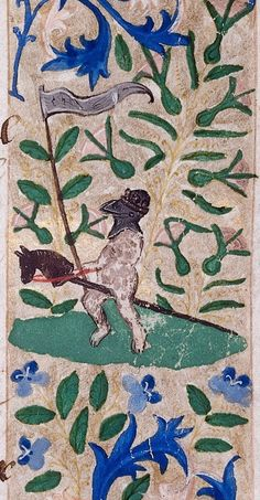 Nude knight on a hobby horse, medieval illuminated manuscript