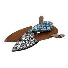 Handmade Damascus Skinner Knife - Genuine Silver Work, Abalone Handle, Leather Sheath - Free Shipping.  via Etsy.