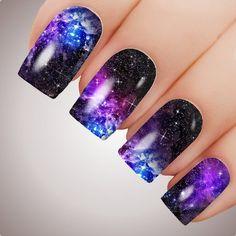 Cute Acrylic Nails, Acrylic Nail Designs, Gradient Nails, Purple Nail Art, Orange Nail, Blue Nail, Galaxy Nail Art, Water Nails, Space Nails