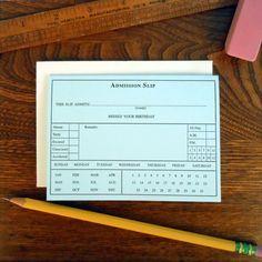 letterpress birthday tardy admission slip by afavoritedesign