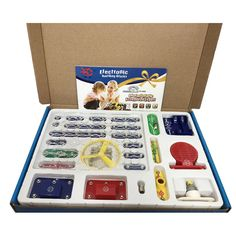 Electricity + Magnetism Learning Kit A set for demonstrating the relationship between electricity and magnetism. The set contains battery holders, switches, light bulbs, LEDs, a. Police Siren, Motor Generator, Robot Kits, Kid Experiments, Educational Toys For Kids, Circuit Board, Electronic Devices, Electronics Projects, Diy Kits