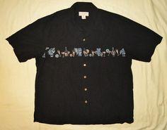 Hawaiian Boca Classics Tiki Shirt Mens XXL Black Cabana Camp Island Classics | eBay