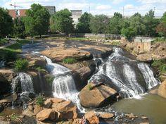 Waterfalls in downtown Greenville
