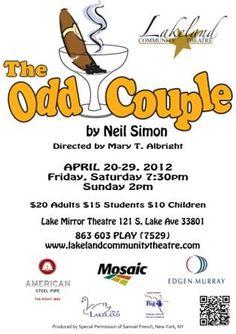"Lakeland Community Theatre presents ""The Odd Couple"" April 20-29."