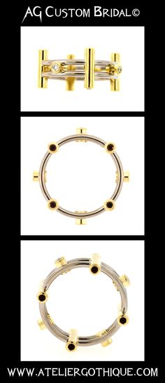 AG Custom Bridal©  Fine Custom Jewelry Gothic Alternative Engagement Bridal Wedding Fashion Ring Band Gold Ruby