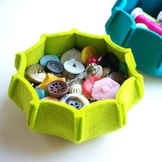 Cute felt bowls. Perfect for storing buttons or other small items. Make in varied sizes.