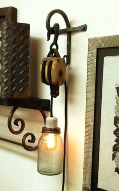 Vintage lighting with Hammer steel & pulley: Love this! Rustic Lighting, Industrial Lighting, Vintage Lighting, Cool Lighting, Rustic Light Fixtures, Lighting Ideas, Country Decor, Rustic Decor, Diy Luz