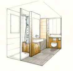 We believe it helps the client to capture and understand the personality of both the bathroom and the designer. Croquis Architecture, Interior Architecture Drawing, Interior Design Renderings, Drawing Interior, Interior Design Sketches, Architecture Design, Small Bathroom Plans, Bathroom Layout Plans, Space Saving Bathroom