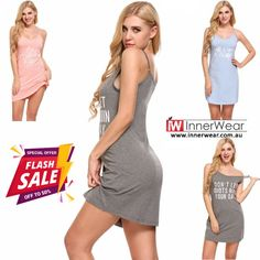 Summer Cotton Sexy Spaghetti Strap Nightwear Home Sleep Night Dress  #sexynightdress #womenslips #nightwear #strap #cotton #innerwear.com.au