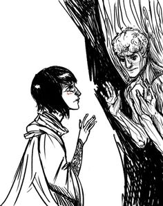 Sketch of Sabriel finding Touchstone