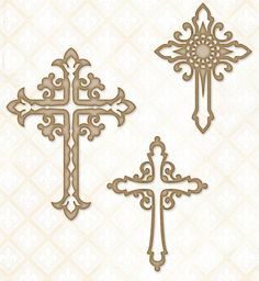 Blue Fern Studios - Chipboard - Ornate Crosses,$4.99
