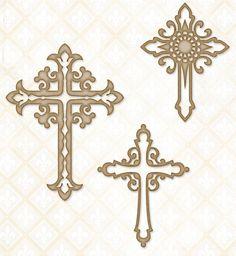 Blue Fern Studios - Chipboard - Ornate Crosses,$4.99