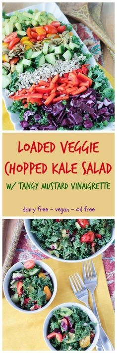 Loaded Veggie Chopped Kale Salad - a delicious and satisfying detox salad. Did you resolved to eat more vegetables this year? Eat the rainbow with this hearty filling kale salad in a tangy mustard (oil-free) vinaigrette! No wimpy salads here! And because kale is so hearty, you can make a big batch and keep it in the fridge for several days without it getting wilted.