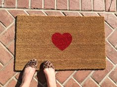 Be Still My Heart welcome mat. Hand painted, customizable doormat.