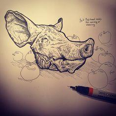 Pig head sketch by ChrisPanatier on DeviantArt